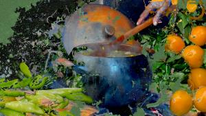 a composite photo with dark blue, orange and lime green tones, shows a big blue pot being stirred by a hand holding a wooden spoon. To the top right are oranges srurrounded by greenery, and the bottom left of the image has green peppers or chillies. Stylised paint graphics are overlaid as splashes