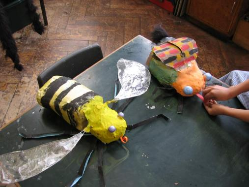 Insect sculptures made by children at Oakley Special School with Sally Hampson.