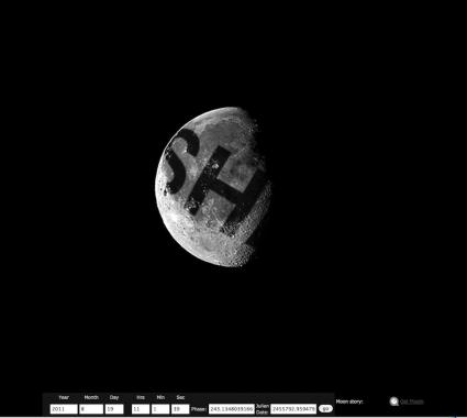 Illustrated image of Lijn's idea to write on the moon using a laser beam.