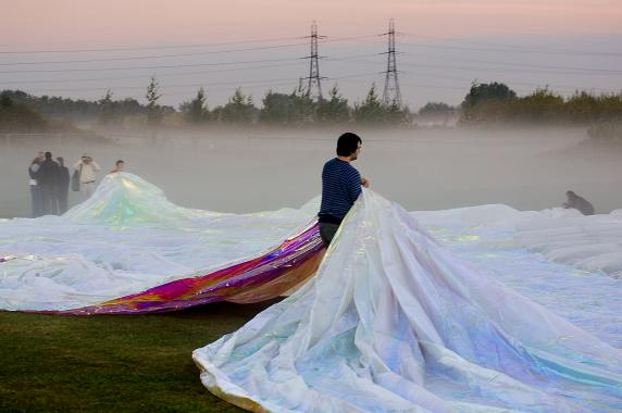 A large bubble of film, inflated with wind, installed in Gunpowder Park.