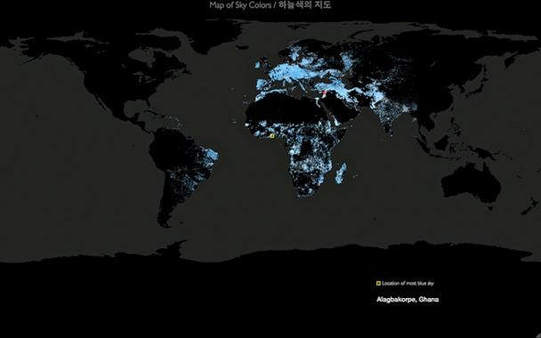 A darkened map of the world, visualizing points where the bluest skies are considered be.