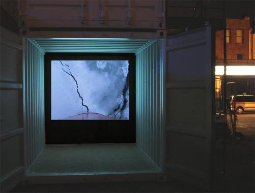 Simon Faithfull's film 'Ice Blink' installed in a container within a street.