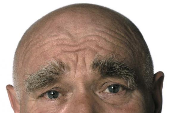 Close-up of the top half of Ken Campbell's face.