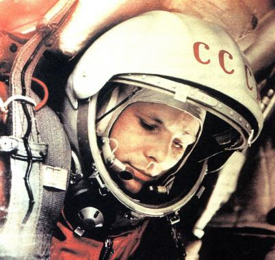 Image of the astronaut Yuri Gagarin in his space suit.