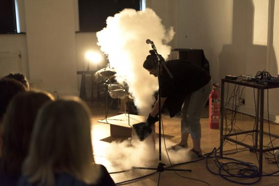 Annie Carpenter attempts to model the physics of black holes using household objects and dry ice
